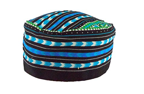 Vipada Handmade African Dashiki Hat Kente Pattern Kufi Kofi Hat Cap (Black with Turquoise) (Kufi Hats Indonesia Style)