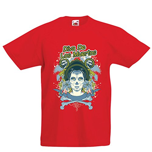 lepni.me Kids T-Shirt Dia de Los Muertos - Day of The Dead (9-11 Years Red Multi Color) -