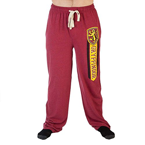 Harry Potter Hogwarts House Logos Vertical Crest Adult Sleep Pants (S, Red) (Potter Pants Harry)