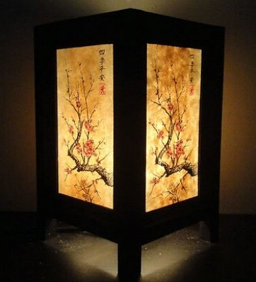 Thai Vintage Handmade Oriental Japanese Cherry Blossom Tree Art Bedside Desk Table Lamp Shades by Art Decor