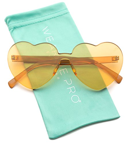 WearMe Pro - Heart Shaped Full Lens Transparent Colored Sunglasses (Light Brown Frame, 65)