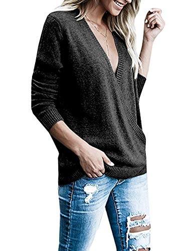 Paris Hill Womens Knitted Deep V-Neck Long Sleeve Wrap Front Loose Sweater Pullover Jumper Tops Black Small by Paris Hill (Image #2)