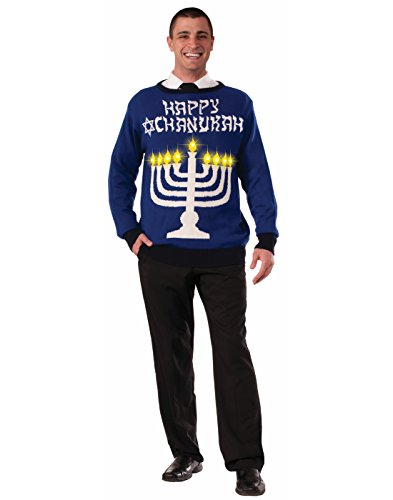 Forum Novelties Men's Plus Size Lite-Up Menorah Chanukah Sweater, Multi, - Size Light Plus Costumes Up