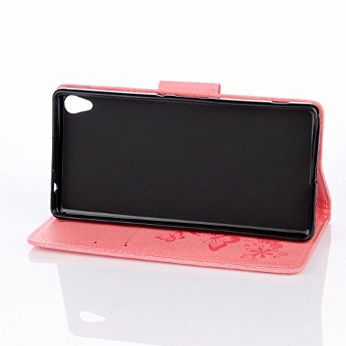Yiizy Sony Xperia XA Ultra (F3212, F3216) Custodia Cover, Farfalla Fiore Design Sottile Flip Portafoglio PU Pelle Cuoio Copertura Shell Case Slot Schede Cavalletto Stile Libro Bumper Protettivo Borsa