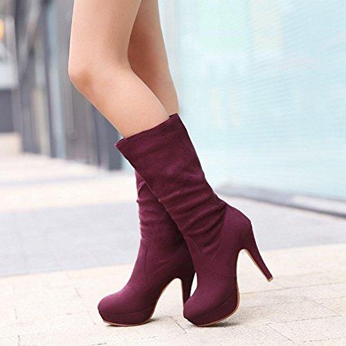 Stivali Shoes Slim Lunghi Carol Casual Alto Scuro Concise Viola Tacco A Women's TZZdIq