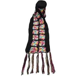 Nirvanna Designs SC07 Flower Crochet Multi Color Scarf, Black Multi