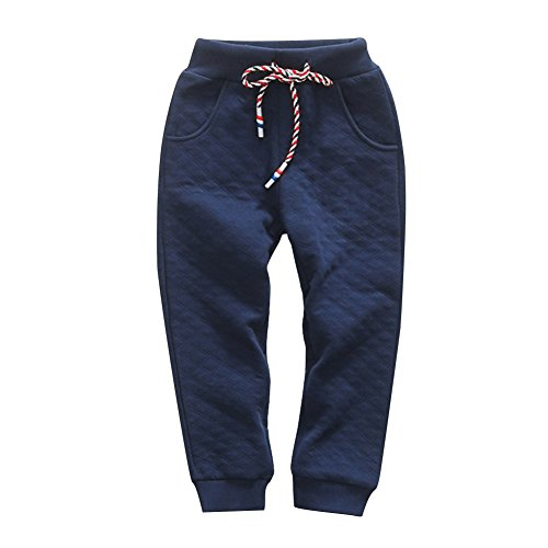 KISBINI Boy's Air Cotton Active Long Pants Sport Sweatpant For children Navy 6T