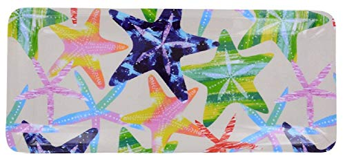 Starfish Print Design Melamine Plastic Rectangle Shaped Serving Tray (Kitchen BBQ Party/Underwater Ocean Sea Life)