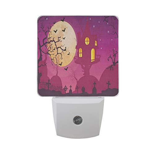 LED Night Light Halloween Moon Party Auto Senor Dusk to Dawn Night Light Decorative Plug in for Kids Baby Girls Boys Adults Room Set of -