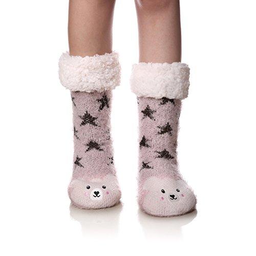 - WENER Women Winter Cute Cartton Animals Knee High Knit Anti Slip Warm Soft Fuzzy Slipper Socks (Bear)