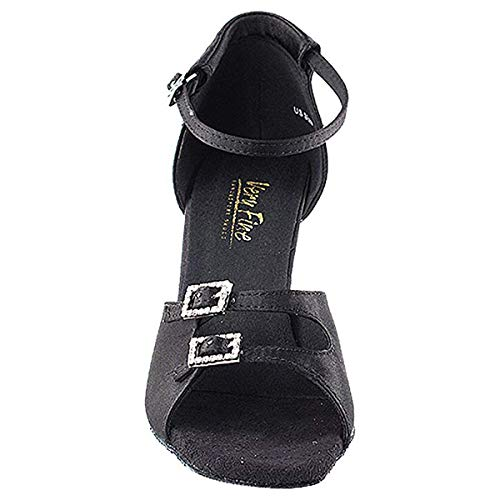 Very Fine Women's Salsa Ballroom Tango Latin Dance Shoes Style 1620 Bundle with Plastic Dance Shoe Heel Protectors,Color:BlackSatin, Size:6.5