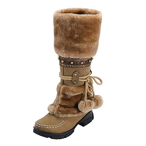 Limsea Women Snow Boots Fashion Suede Hairball Round Toe Square Heel Shoes Slip-On 9.5 Brown (White Alligator Boots)