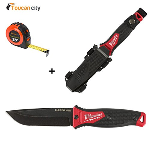 (Milwaukee 5 in. Hardline Fixed Blade Knife 48-22-1928 and Toucan City Tape Measure)