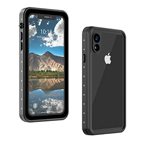 ALOFOX iPhone XR Case 6.1 Inch Full-Body Rugged Waterproof Case with Built-in Screen Protector for iPhone XR Cases (2018 Black)