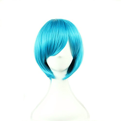 [TLT 28cm (11inch) Upgrade VersionShort Straight Sexy Stylish Cosplay Party Hair Wigs (Blue) BU029] (Blue Wigs For Women)