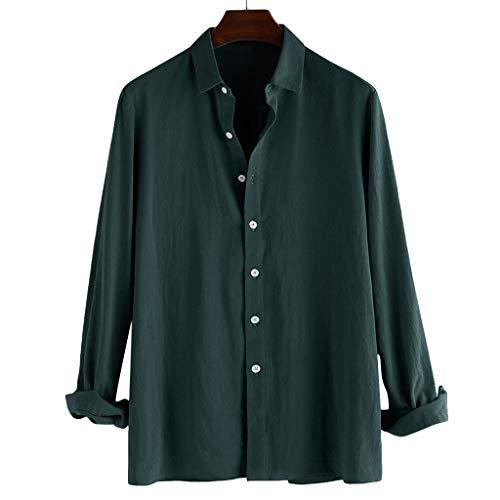 (Mens Short Sleeve Shirts Button Down Cotton Polyester Beach Tops Lightweight Fishing Tees Spread Collar Plain Blouses Green)
