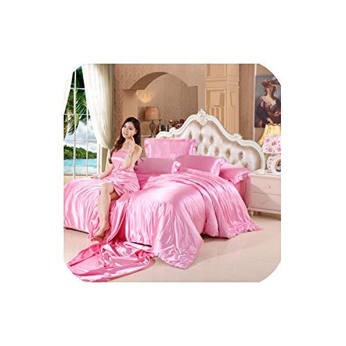 LOVE-JING Silk Bedding Set Home Textile King Size Bed Set Bed Clothes Duvet Cover Flat Sheet Pillowcases,Pink,Queen 3Pcs (Lego Queen Sheet Set)