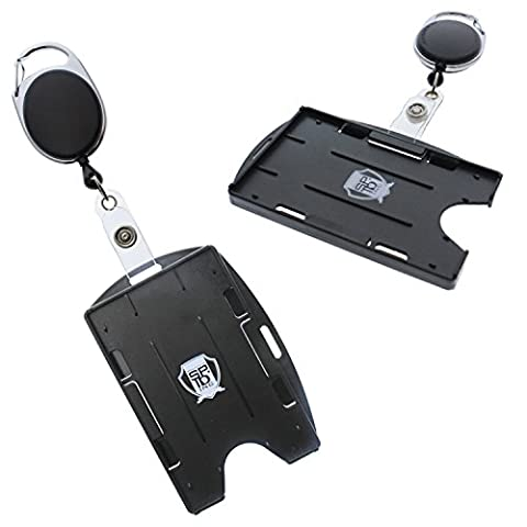 2 Pack - Premium Two Card Badge Holder - Vertical or Horizontal - with Retractable Carabiner Badge Reel by Specialist ID - Identification Badge Attachment