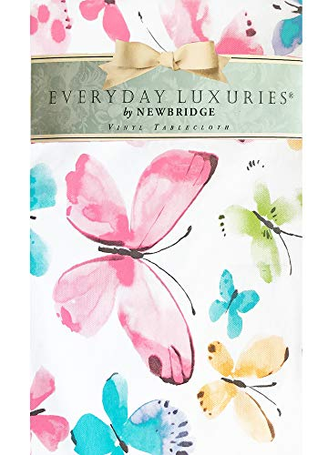 """(Newbridge Kylie Rainbow Butterfly Print Vinyl Flannel Backed Tablecloth - Spring and Summer Watercolor Butterfly Print Indoor/Outdoor Print Tablecloth - 60"""" x 120"""" Oblong/Rectangle)"""
