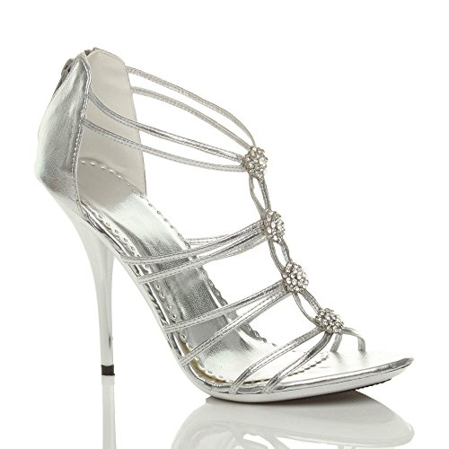 Ajvani Womens ladies high metal heel strappy diamante evening wedding prom sandals size Silver q3D0ECD8
