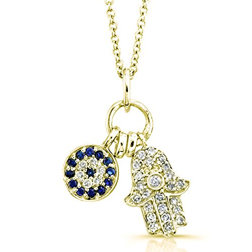 ond and Blue Sapphire Hamsa and Circle Pendant (1/8cttw, JK, I2-I3), 16