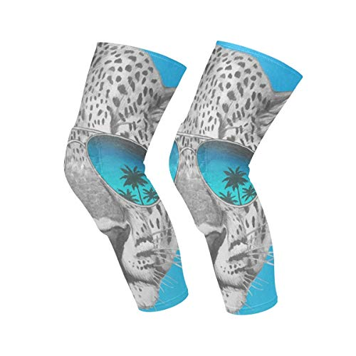- Knee Sleeve Leopard with Mirror Sunglasses Full Leg Brace Compression Long Sleeves Pads Socks for Meniscus Tear, Arthritis, Running, Workout, Basketball, Sports, Men and Women 1 Pair