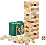 ApudArmis Giant Tumble Tower, 54 PCS Pine Wooden Toppling Tower Game with 1 Dice Set - Classic Block Stacking