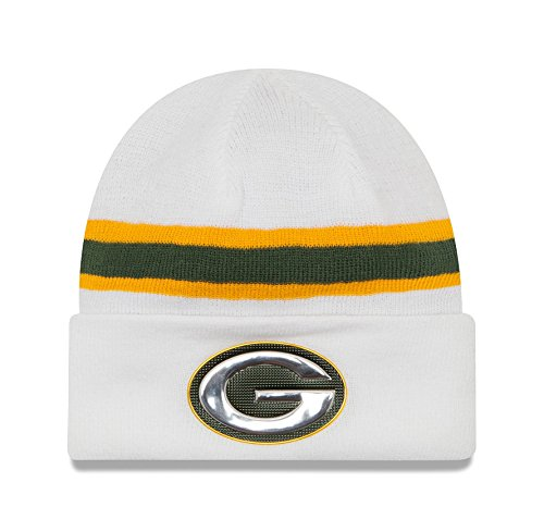 Green Bay Packers New Era White Color Rush On-field Knit Hat / Cap]()