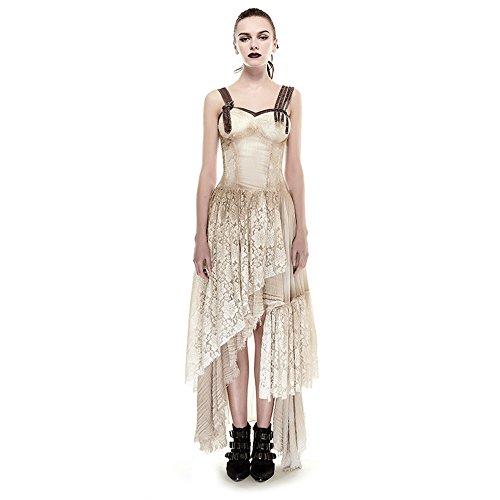 14c793ee7393 PUNK Steam Women Long Lace Dress Condole Belt Gothic Summer Dresses Khaki -  Buy Online in UAE.