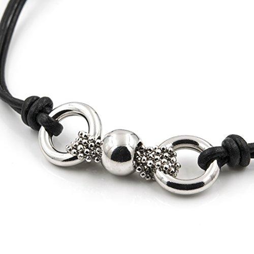 15633c60a7e4 Silver   Steel Pulsera de cuero negro y aros de plata de primera ley De alta
