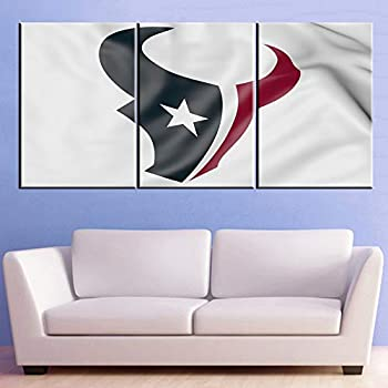 NFL Canvas Art Wall Decor Houston Texans Pictures Patriotic Paintings 3 Piece Prints Artwork American Football Wall Art Giclee Bedroom House Decorations Stretched and Framed Ready to Hang(42''Wx20''H)
