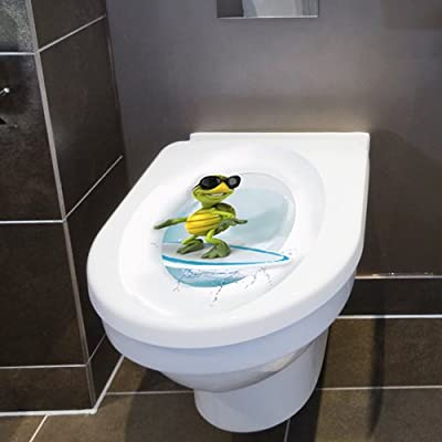"Wandkings Toilet Lid Decal ""Surfing Turtle""- 11.8 x 15.7 Inch"