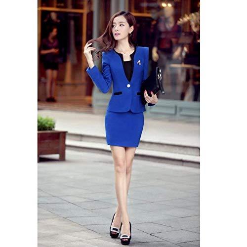Coctel Vestido Faldas Larga Sólidos Vestidos Primavera Manga Botonadura Negocios Blazer De Slim Dos Otoño Blau Mujer Ropa Colores Fit con Vestidos Piezas w0TqR