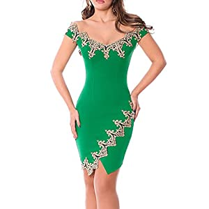1e025efce76 Eiffel Women s Lace Applique Off Shoulder Party Club Mini Dress Tight  Bodycon Green