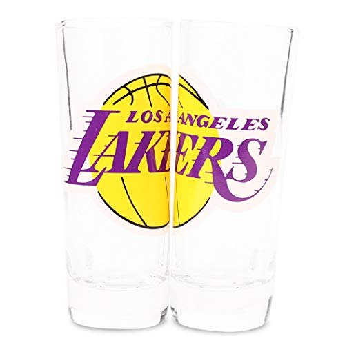 NBA Color Team Logo 2 oz Cordial Shot Glass 2-Pack (Los Angeles - Shot Glass Team Logo