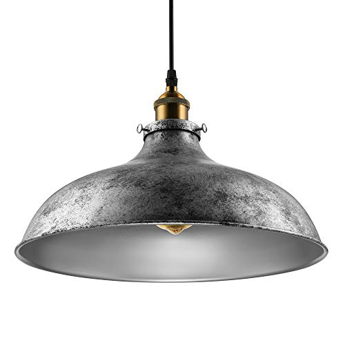 (BAYCHEER HL371906 Industrial Vintage Style Lid Shaped Pendant Lighting in Antique Silver Pendant Light Lamp Chandelier with 1 light)