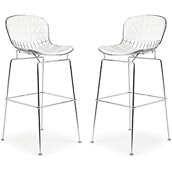 Enjoyable Poly And Bark Bertoia Style Wire Bar Stool In White Set Of 2 Creativecarmelina Interior Chair Design Creativecarmelinacom