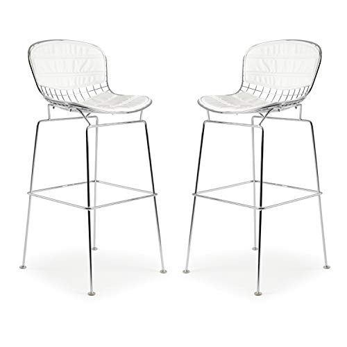 Knoll Bar Stools - Poly and Bark Bertoia Style Wire Bar Stool in White (Set of 2)