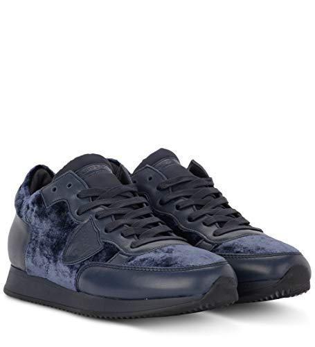 Blue 6 Velluto Blu MODEL E Tropez 37 US Pelle PHILIPPE Woman's in EU Sneaker OxSnwCOqTH