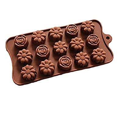 JLHua Rose Flower Molds for Hard Candy & Chocolate Making Silicone Soap and Ice Cube Trays Party Buffet, Baking Supplies