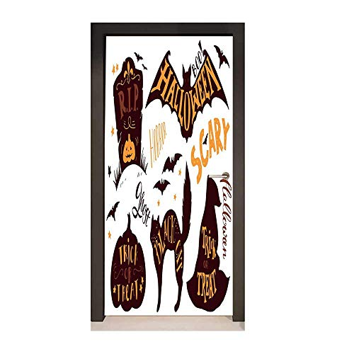 Vintage Halloween Decor Door Mural Halloween Symbols Trick or Treat Bat Tombstone Ghost Candy Scary Door Creative Decoration Dark Brown Orange,W23.6xH78.7 -