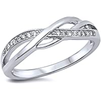 Sterling Silver Round White CZ Swirl Band Anniversary Ring 5MM (Size 4 to 14)