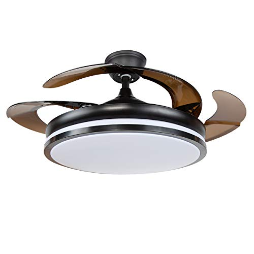 "Tengchang Simplistic Style 42"" Ceiling Fan with 3-Color Change LED Light Foldable Blade"