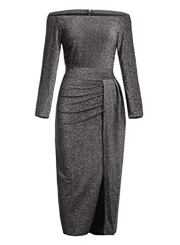 (Happy Sailed Women Half Sleeve Off The Shouder Metallic Knit Slit Evening Party Dresses S Black)