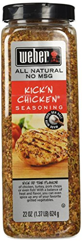 Weber Kick'n Chicken Seasoning 22 Oz. Made with Sea Salt - No MSG - Gluten Free - Perfect for - Rub Chicken Spice