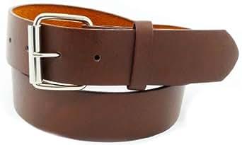 JTC Belt Genuine Faux Plain Leather Belt Detachable Buckle BROWN S