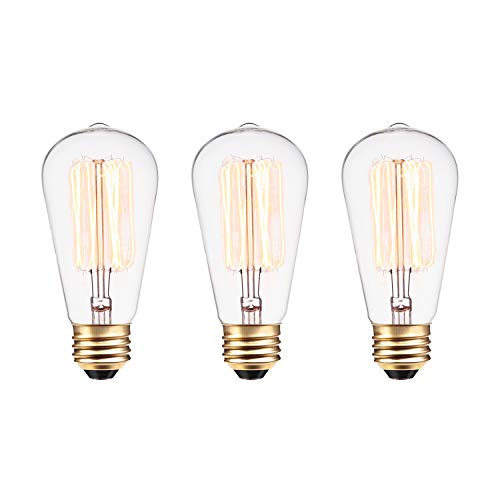 (Globe Electric 60W Vintage Edison S60 Squirrel Cage Incandescent Filament Light Bulb 3-Pack, E26 Base, 245 Lumens 31321)