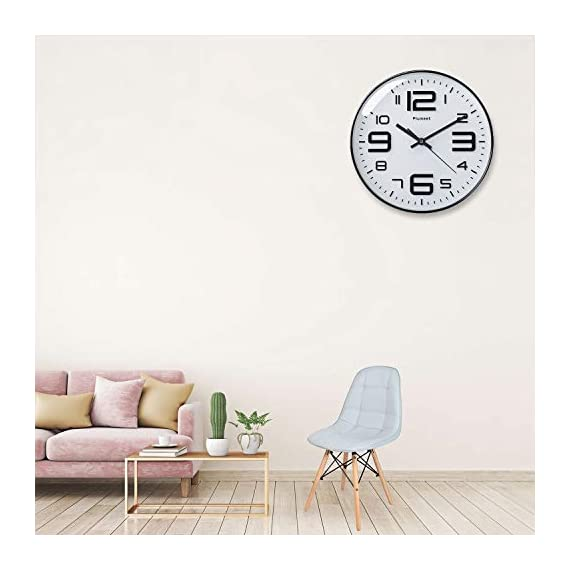 """Plumeet Silent Wall Clocks - 12"""" Non-Ticking Quartz Large Decorative Clocks - Big 3D Number Good for Living Room Home Office Battery Operated (White) - Wall Clock for Bedroom -- Large black numbers bulged out over white dial face, super quiet, easily to see and read 12'' diameter round frame. Eye Catching Numeric -- Four extra large 3D numbers makes it easier to read from any corner of your room. Super Silent -- Precise quartz movements to guarantee accurate time, quiet sweep second hand ensure a good sleeping and work environment. - wall-clocks, living-room-decor, living-room - 41lGxiGVloL. SS570  -"""