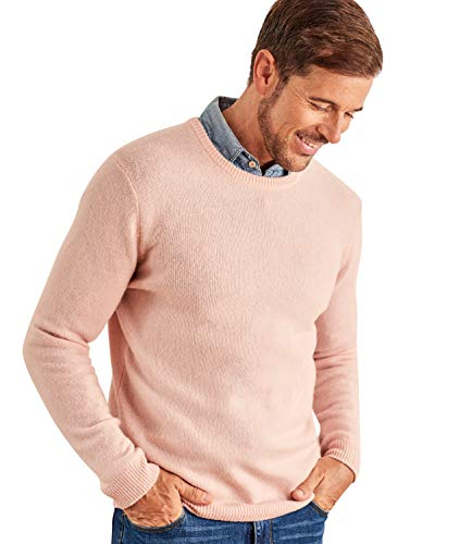 WoolOvers Mens Lambswool Crew Neck Knitted Sweater Pale Salmon, L