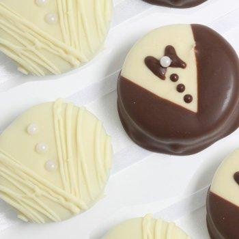12 Bride & Groom Decorated Belgian Chocolate Dipped Sandwich - Cookies Bride